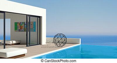 Patio modern marine Villa - 3D illustration. Patio or...