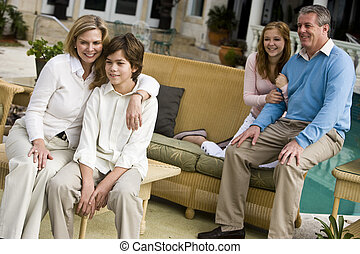 patio, odprężając, rodzina
