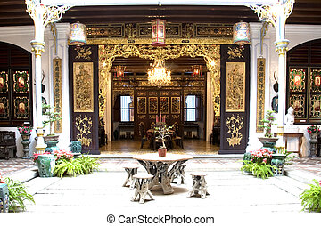 Patio of a Chinese Heritage Home - Patio of an old Chinese...