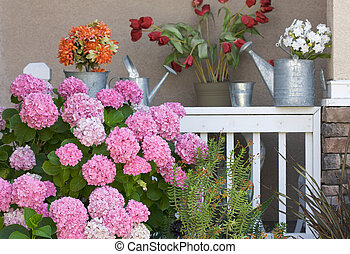 Patio of Pink Hydrangeas