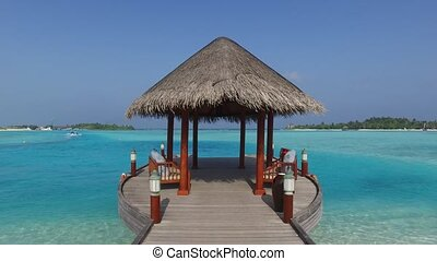 patio or terrace with canopy on beach sea shore - travel,...