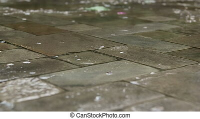Patio paving slab in the rain