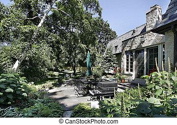 patio, udsigter, i, luksus til hjem