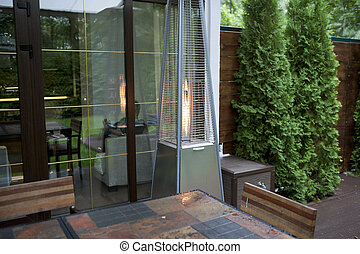 Patio with a gas heater