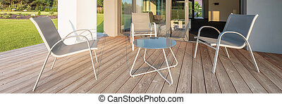 Patio with comfortable furniture set