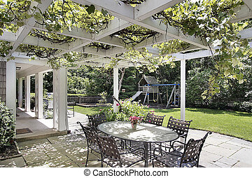 Patio with white wood beams - Patio in luxury home with...