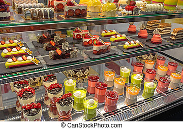 Patisserie Display Desserts - Assortment of Pastries and ...