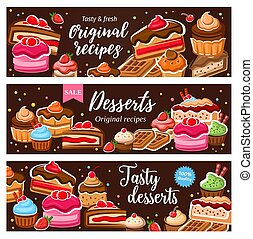 patisserie, dulce, postres, confectionery., alimento