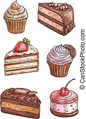 Patisserie sweet desserts scketch icons - Patisserie sweet...