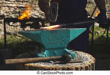 patkolókovács, kitalál, vasal anvil