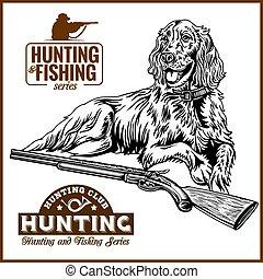 pato, caza, -, perro, arma de fuego