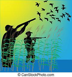 pato, cazadores