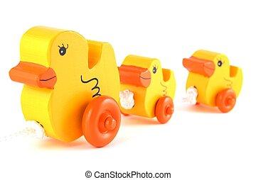 pato, fila, hechaa mano, amarillo, juguetes