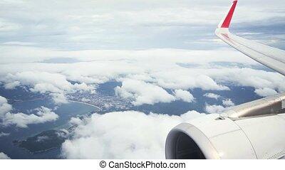 patong, moteur avion, perspective, aile, plage, thaïlande, passager