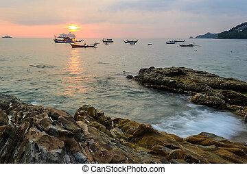 patong , phuket , παραλία , μακριά , kalim, ηλιοβασίλεμα , βράχοs , παραλία , έκθεση