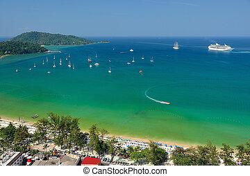 patong, praia tropical, de, vista aérea, phuket., thailand.