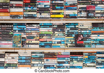 PATONG THAILAND- SEP 19 : Old book on the shelf for sale at...