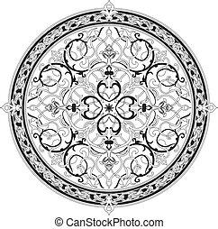 patrón, árabe, motivo, floral