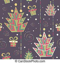 patrón, árbol, navidad, seamless