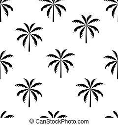 patrón, árbol, seamless, ilustración, vector, palma