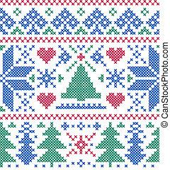 patrón, árboles, copos de nieve