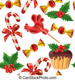 patrón, año nuevo, seamless, dulces