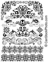 patrón, aislado, conjunto, negro, simétrico
