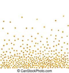 patrón, aleatorio, dots., dorado, caer, resumen