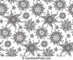 patrón, alheña, seamless, mano, vector, mehndi, dibujado, sol