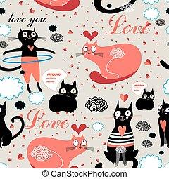 patrón, amantes, gatos