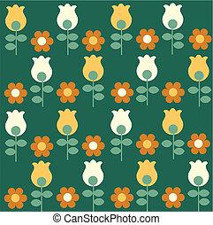 patrón, amarillo, tulipanes, flores blancas, rojo