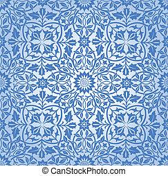patrón, azul, floral, entrelazar