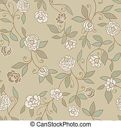 patrón, backgrounds., rosas, vector, o, proyectos, floral, papel pintado, plano de fondo, coloreado, scrapbooking, seamless, verde, tela