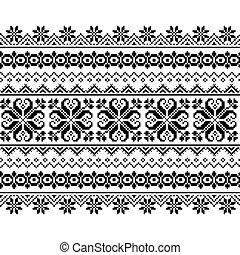 patrón, belarusian, ucranio, inpired, largo, gente, punto de cruz, -, seamless, arte, ornamento, vyshyvanka, vector