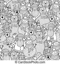 patrón, blanco, negro, seamless, navidad