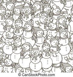 patrón, blanco, negro, seamless, snowmen