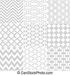 patrón, blanco, seamless, retro