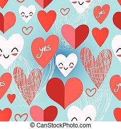 patrón, brillante, diferente, corazones