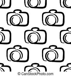 patrón, cámara, contorno, plano de fondo, seamless