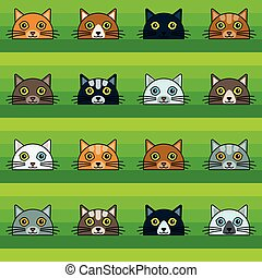 patrón, cabezas, seamless, gato