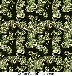 patrón, cachemira, vector, verde, seamless