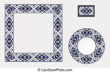 patrón, cepillos, conjunto, ornamento, étnico