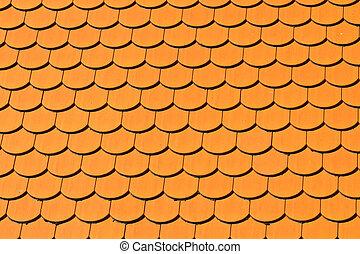 patrón, cerámico, rojo, techo cubre tablillas