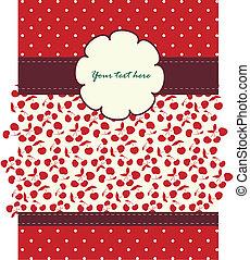 patrón, cerezas, diseño, su, tarjeta