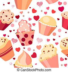 patrón, chocolates, seamless, rojo, corazones
