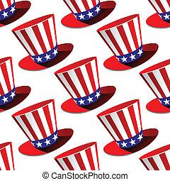 patrón, cima, seamless, norteamericano, sombrero patriótico