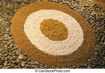 patrón circular, diana, semillas