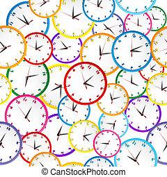 patrón, clocks, seamless, colorido