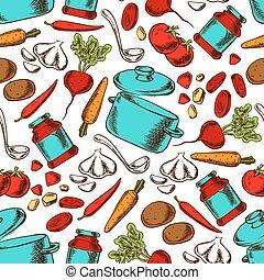 patrón, cocina, seamless, ingredientes