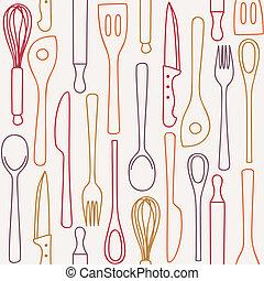 patrón, cocina, -, seamless, utensilios